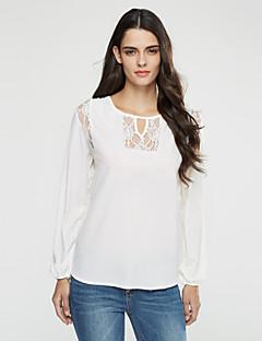 Langærmet Rund hals Medium Dame Blå / Hvid / Sort / Grøn Patchwork Forår / Efterår Simpel / Street Casual/hverdag T-shirt,Polyester