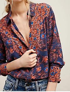 גיאומטרי צווארון חולצה פשוטה ליציאה חולצה נשים שרוול ארוך פוליאסטר