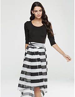 Women's Fine Stripe|Asymmetrical Going out Street chic Fall T-shirt Skirt Suits,Striped U Neck Long Sleeve Polyester