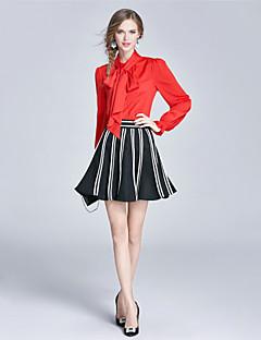 Damen einfarbig Gestreift Niedlich Anspruchsvoll Ausgehen Lässig/Alltäglich Arbeit Bluse Rock Anzüge,Ständer Riemengurte HerbstLange