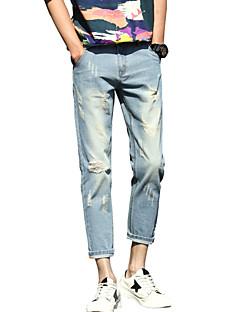 Αντρικό Βράκα,Πεπαλαιωμένο Απλός Κανονική Μέση,Ανελαστικό Τζιν Παντελόνι Ripped Μονόχρωμο