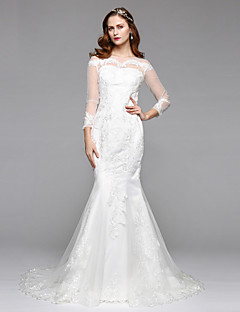 2017Lanting Bride® Trumpet / Mermaid Wedding Dress Simply Sublime Floor-length Bateau Lace Tulle with Lace