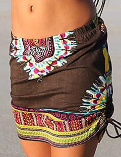 צינור דפוס חצאיות,וינטאג' בוהו ליציאה יום יומי\קז'ואל,Mini גיזרה בינונית (אמצע) גמישות Polyesteri מיקרו גמישות סתיו קיץ