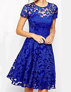 Women's Lace fashion in and America temperament round neck short sleeve lace dress