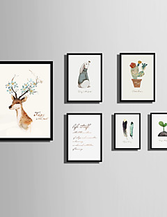 E-HOME® Framed Canvas Art  Simple Animal And Plant Color Theme Series Framed Canvas Print One Pcs