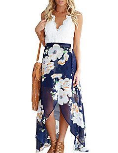 Women's Beach Party Sexy Sophisticated Chiffon Swing Dress,Floral Patchwork V Neck Maxi Asymmetrical Sleeveless Polyester Spring Summer