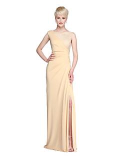 Lanting Bride® Longo Renda Microfibra Jersey Fendas Vestido de Madrinha - Tubinho Decorado com Bijuteria com Fenda Frontal Pregas