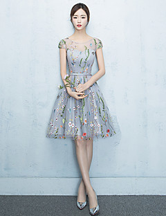 Knee-length Jewel Bridesmaid Dress - Lace-up Sleeveless Lace Tulle