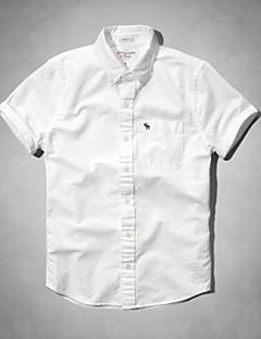 Masculino Camisa Social Casual Simples Verão,Sólido Listrado Estampa Animal Algodão Colarinho Clássico Manga Curta Média
