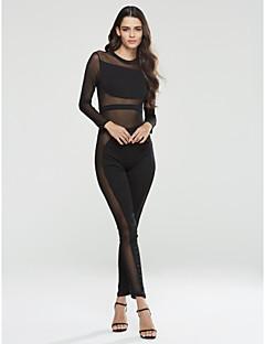 Femme SlimSexy Soirée / Soirée / Cocktail Col Arrondi Manche Longues Taille Normale Polyester Elastique Automne / Hiver