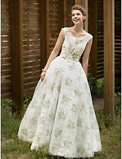 A-라인 웨딩 드레스 - 쉬크&모던 색상 웨딩 드레스 바닥 길이 스쿱 튤 와 허리끈 / 리본 아플리케 리본 버튼