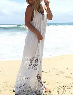 Γυναικείο Παραλία Γιορτή Σέξι Μπόχο Θήκη Φόρεμα,Μονόχρωμο Αμάνικο Τιράντες Μακρύ Πολυεστέρας Καλοκαίρι Ψηλοκάβαλο Ανελαστικό Λεπτό