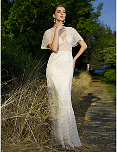LAN TING BRIDE Trumpet / Mermaid Wedding Dress - Chic & Modern Floor-length V-neck Lace with Beading