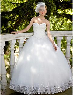 姫のストラップレス床の長さオーガンザのウェディングドレス