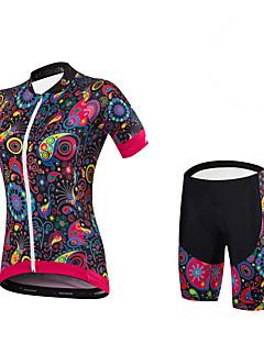 חולצת ג'רסי ומכנס קצר לרכיבה נשים שרוולים קצרים אופניים מכנסיים קצרים ג'רזי שורטים (מכנסיים קצרים) מרופדים תחתיות מדים בסטיםספנדקס 100%