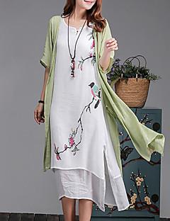 Feminino balanço Vestido,Casual Tamanhos Grandes Simples Floral Decote Redondo Médio Meia Manga Algodão Verão Cintura MédiaSem