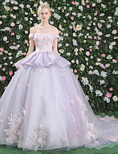 Formal Evening Dress - Open Back Floral Elegant Beautiful Back Lace-up Ball Gown Bateau Chapel Train Lace Satin Tulle withAppliques