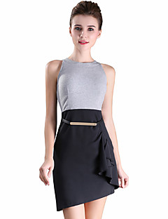 ZOSOL Women's Going out Party Sexy Cute A Line DressPatchwork V Neck Above Knee Sleeveless Polyester All Seasons Mid Rise Micro-elastic Medium