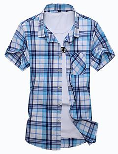 Для мужчин На выход На каждый день Большие размеры Лето Рубашка Рубашечный воротник,Простое В клетку Пэчворк С короткими рукавами,Хлопок