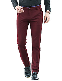 Men's Loose Business PantsCasual/Daily Simple Solid Mid Rise Zipper Cotton Micro-elastic All Seasons