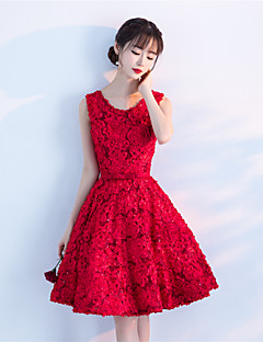 A-Line Jewel Neck Knee Length Lace Cocktail Party Dress with Lace Sash / Ribbon