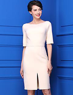 Kadın Günlük/Sade Sade Kılıf Elbise Solid,½ Kol Uzunluğu Kayık Yaka Diz-boyu Polyester Yaz Normal Bel Mikro-Esnek Orta