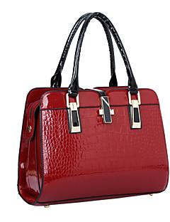 Women Patent Leather Flap Shoulder Bag / Tote - Beige / Blue / Black / Burgundy
