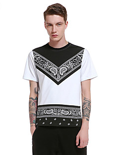 Men's Going out Casual/Daily Party Vintage Simple Street chic Summer Fall T-shirt,Geometric Round Neck Short Sleeve Polyester Thin