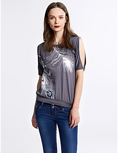 Dames Sexy Street chic Zomer T-shirt,Uitgaan Print Ronde hals Korte mouw Polyester Medium