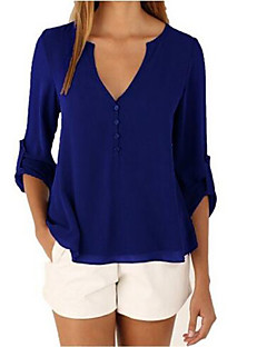 Women's Beach Sexy Summer Blouse,Solid V Neck Long Sleeves Linen Thin