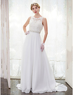 A-line Wedding Dress Chapel Train Scoop Chiffon Lace with Beading Button Lace