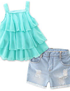 Girls' Casual/Daily Beach Holiday Solid Sets Summer Sleeveless Shorts Jeans Sling shirt Clothing Kids Baby Set