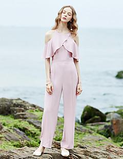 Femme simple Taille Haute non élastique Chino Pantalon,Droite Volants Couleur Pleine