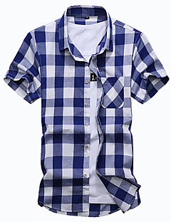 Kortærmet Krave Medium Herrer Ternet Patchwork Sommer Simpel I-byen-tøj Afslappet/Hverdag Plusstørrelser Skjorte,Bomuld Polyester