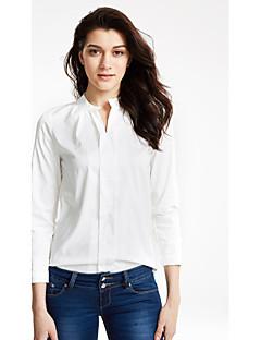 Höst Enfärgad Långärmad Ledigt/vardag Skjorta,Enkel Dam V-hals Medium Vit