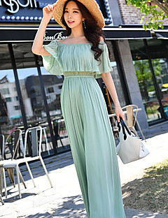 DABUWAWA Women's High Rise Beach Going out Holiday JumpsuitsSimple Boho Street chic Slim Wide Leg Pleated Solid