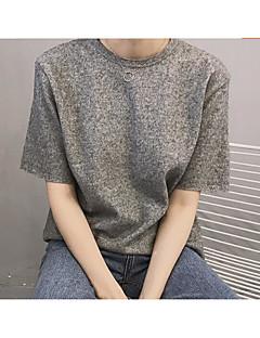 Feminino Camiseta Casual Simples Primavera,Sólido Outros Decote Redondo Manga Curta Fina
