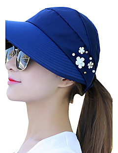 Women Summer Print Pearl Flower Decoration Empty Top Hat Beach Sun Sunscreen Anti-UV Outdoor Travel Folding Cap