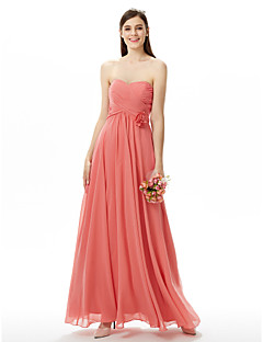 LAN TING BRIDE עד הריצפה סטרפלס מחשוף לב שמלה לשושבינה  ללא שרוולים שיפון