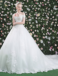 Princess Wedding Dress - Classic & Timeless Chic & Modern Elegant & Luxurious Beautiful Back Royal Length Train Bateau Lace Tulle with
