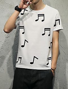 Miehet Lyhythihainen Pyöreä kaula-aukko Puuvilla Yksinkertainen Rento/arki T-paita,Painettu