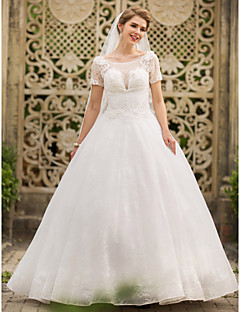 A-line Wedding Dress - Classic & Timeless Open Back Floor-length Scoop Lace with Appliques Beading Sequin