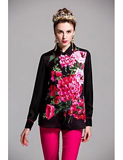 Polyester Langermet,Skjortekrage Skjorte Trykt mønster Vår Sommer Søt Fritid/hverdag Ut på byen Dame