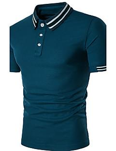 Masculino Polo Casual Moda de RuaListrado Poliéster Colarinho de Camisa Manga Curta