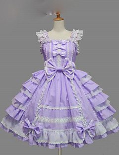 One-Piece/Dress Gothic Lolita Lace-up Princess Cosplay Lolita Dress Blue Purple Yellow Solid Bowknot Cap Short Sleeve Short / MiniTuxedo