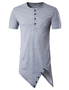 Men's Sports Casual/Daily Beach Simple Active Summer T-shirt,Solid Round Neck Short Sleeve Cotton Medium