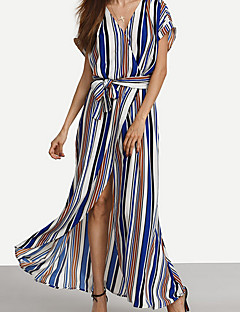 Women's Beach Holiday Swing Dress,Striped V Neck Maxi Short Sleeve Rayon Summer High Rise Micro-elastic Thin