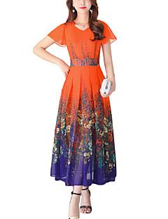 Feminino balanço Vestido,Para Noite Casual Férias Vintage Moda de Rua Floral Decote V Longo Manga Curta Poliéster Verão Cintura Alta