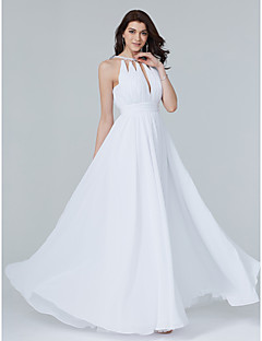 TS Couture Formal Evening Dress - Celebrity Style A-line Jewel Floor-length Chiffon with Beading Draping Sash / Ribbon