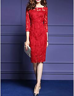 501384124d2 Γυναικεία Εξόδου Μεγάλα Μεγέθη Κομψό στυλ street Θήκη Φόρεμα,Μονόχρωμο ¾  Μανίκι Στρογγυλή Λαιμόκοψη Ως